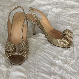 "Kate Spade ""Charm"" heels in platinum glitter"